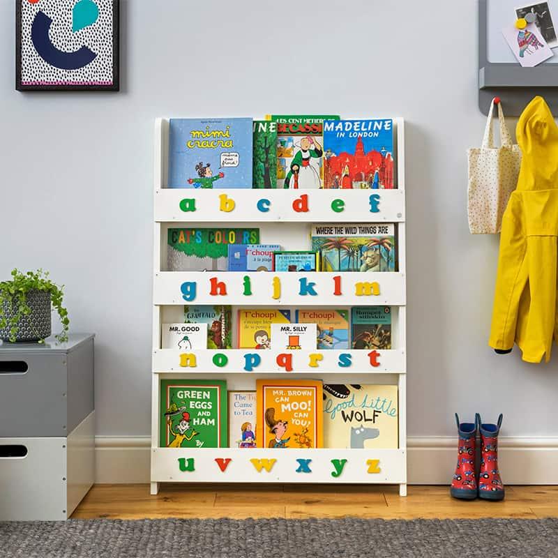 Children's bookcases, Tidy Books, Tidy Books Children Bookcases, kids bookcases, Tidy Books Alphabet Bookcase White Colour Alphabet